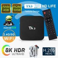 caixa de tv android 32 gb venda por atacado-Chegada Nova TX3 4GB 64GB 8K TV Box Amlogic S905X3 Android 9.0 Smart TV Box 4GB 32GB 2GB 16GB Opção