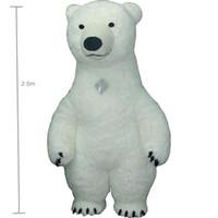 mascotes de urso adulto venda por atacado-2.5 m branco bea Mascot Costume Para Adulto Inflável Urso Polar Traje Publicidade Para Fantasias Homem Personalizar Cabelo Curto De Altura
