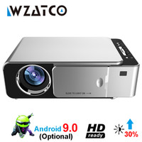 Wholesale mini projector for video games for sale - Group buy WZATCO T6 Android WIFI Smart Optional support p HD LED Portable Mini Projector Video For Home Theater Game Movie Cinema