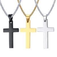 keltische kreuzanhänger großhandel-Mens Edelstahl Kreuz Anhänger Halsketten Männer Religion Glaube Kruzifix Charme Titan Stahlkette Für Frauen Modeschmuck Geschenk