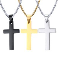 Wholesale crosses for necklaces resale online - Mens Stainless Steel Cross Pendant Necklaces Men s Religion Faith crucifix Charm Titanium steel chain For women Fashion Jewelry Gift