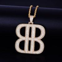 colar geométrica de prata venda por atacado-B Letra Forma geométrica com Corda Cadeia Colar de Pingente De Prata De Ouro Que Bling Cubic Zircon Hip hop Homens Jóias