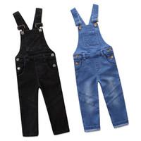 pantalon jeans pour garçons achat en gros de-Enfants Denim Overall Unisexe Garçons et Filles Cargo Pants Jarretelles Jeans Combinaison De Mode Jeans 18112102