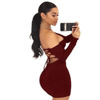 black wrap dress toptan satış-Yeni elbise Avrupa Tarzı kadınlar için seksi aç geri bant siyah kırmızı wrap kalça etek satış