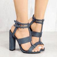 sandales de marine achat en gros de-Sandales en cuir de daim pour fille marine à talons hauts talons chaussures à boucles femme kaki sandales à la cheville sangle talons 10.5cm