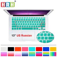 """teclado para a1466 venda por atacado-Hrh Slim Nos Protetor de Filme Do Teclado Russo Para Macbook Air Pro Retina 13 """"15"""" 17 """"Laptop Capa de Pele Para Mac Book 13 15 Gel Caso T190619"""