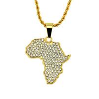 африканский хип-хоп ожерелья оптовых-Хип-Хоп Ювелирные Изделия Африка Карта Ice Out Кулон Ожерелье Для Мужчин bling Кубического Позолоченного Хип-Хоп Ожерелье