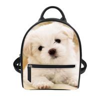 kız sırt çantaları köpekleri toptan satış-Moda Pet Köpek Mini Sırt Çantası Genç Kız Siyah Omuz Çantası Prova Tarzı kadın Sırt Çantası Fermuar Pu Deri