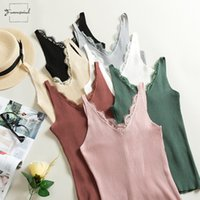 Wholesale hook stitch resale online - 2019 Spring Tank Tops Hook Flower Lace Solid Stitching V Neck Shirt Female Knitted Section Slim Outer Wear Camis Trend
