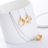 Wholesale swarovski elements made for sale - Group buy square crystal pendant necklace dangle earrings set Made with Swarovski Elements for women wedding party jewellery bijoux gift