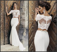 Wholesale chic short wedding dress for sale - Group buy 2019 Chic Crop Top Mermaid Wedding Dresses Illusion Bodice Short Sleeves Two Piece Wedding Dresses Vintage Beach Bridal Dresses With Jacket