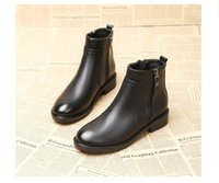 Wholesale euro style boots for sale - Group buy Women big size zip boots women zipper shoes soft upper ladies ankle boots euro style flat heel booties