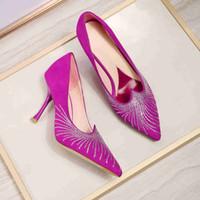 Wholesale diamond rhinestones shoes resale online - 2019 summer new fashion brand handmade diamond decorative women s shoes heel height cm size EU