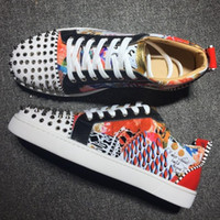 Wholesale plastic crystal shoe for sale - Group buy 2020 NEW Designer Sneakers Red Bottom shoe Low Cut Suede spike Luxury Shoes For Men and Women Shoes Party Wedding crystal Leather Sneakers