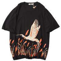 Wholesale tshirt long hip hop resale online - Men Hip Hop T Shirt Streetwear Harajuku Tshirt Crane Print Fashion Summer T Shirt Short Sleeve Cotton Tops Tees Black White