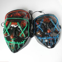 ingrosso incandescenza ha portato maschere-Maschere luminose a LED di Halloween Creative Light Up Party Neon Cosplay Strumenti per maschere Horror Glowing Dance Masks TTA1463