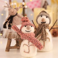 Wholesale n toys resale online - Wool Felt Snowman Doll Christmas Ornaments Gift Toy Doll Hang Christmas Tree Kids Gift Home Decor Festive Party n