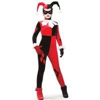 traje de cosplay vermelho venda por atacado-Harley Quinn Cosplay Traje Jumpsuit Preto e Vermelho Cabido Harlequin Traje Cosplay Halloween Palhaço Traje Traje Coringa