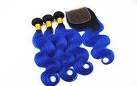 weave bundles closure toptan satış-Mavi Renk Vücut Dalga Saç Uzantıları 3 veya 4 Demetleri ile 4x4 Saç Kapatma Ücretsiz Bölüm Brezilyalı 100% Virgin İnsan Saç Örgüleri 10-18 inç