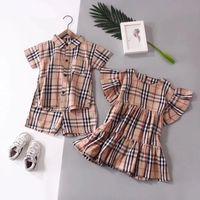 erkek çocuk bezleri toptan satış-Burberry 2019 çocuklar kıyafetler Suits bebek eşofman Erkek beyefendi Ekose Gömlek Suits kızlar elbise çocuklar butik Giyim Setleri giysi tasarımcısı giysi
