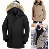 manteau canada marque achat en gros de-CANADA MENS Designer marque Langford Parker Manteau 2062M en plein air de veste en duvet d'oie hommes chaud court épais coupe-vent imperméable combinaison de ski sport