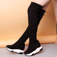 siyah dantel diz kadar yüksek bot toptan satış-Lucyever Kadınlar Kış Uyluk Yüksek Çizmeler Diz Üzerinde Kadın Flcok Ayakkabı Lace Up Yüksek Topuklar Platformu Siyah Uzun Bota Feminina