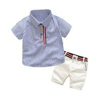ropa hermosa al por mayor-Ropa de bebé niño conjunto camisa + pantalones cortos de verano guapo caballero chico ropa conjunto de manga corta camiseta niños ropa