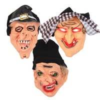 маска ведьм оптовых-Halloween Horror Ведьмы маска Scary черный платок силикона Witch маски Halloween Cosplay партии ужасов Страшные маски дьявола