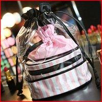 şeffaf makyaj çantası organizatörü toptan satış-PVC Şeffaf Kozmetik Organizatör Yuvarlak Seyahat Tuvalet Çantası Set Pembe Şerit İpli Güzellik Makyaj Çantaları 3 adet / takım