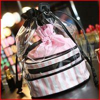 Wholesale pvc drawstring bags resale online - PVC Transparent Cosmetic Organizer Round Travel Toiletry Bag Set Pink Stripe Drawstring Beauty Makeup Bags set
