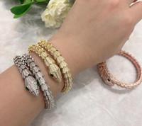 pulseira novo diamante venda por atacado-Pulseira de luxo Pulseiras de Cobra de Ouro para As Mulheres diamante Pulseira de Luxo Jóias Presente de Aniversário de Ano Novo designer de jóias