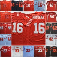 camisetas de fútbol joe montana al por mayor-Mens Vintage # 16 Joe Montana Football Jersey cosido # 42 Ronnie Lott 33 Roger Craig 44 Tom Rathman 87 Dwight Clark Jersey S-3XL