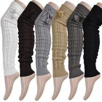 calcetines botas de rodilla para niñas al por mayor-de las mujeres calentadores de la pierna señora Spring ganchillo ocasional otoño de punto sobre muchacha rodilla pega Footless Pierna calentadores de arranque calcetines de alta del muslo caliente