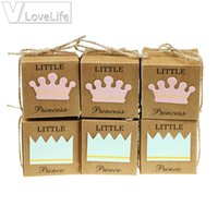 pequeñas cajas de favores de la boda al por mayor-12 unids / lote Little Prince Princess Candy Box Crown Twine Kids Baby Shower Party Cajas de chocolate Favores de la boda Suministros Caja de regalo