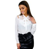 3994094bec 2019 New Womens tops and blouses Floral Crochet Lace Transparent Blouse  Shirt Semi-sheer Mesh Long Sleeve Streetwear Tops White