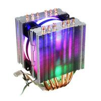 intel soğutucu fan toptan satış-6 Isı Borusu Cpu Soğutucu Led Fan 3 Hat Cpu Fanı Soğutucu Intel 775/1150/1155/1156/1366 Amd Için