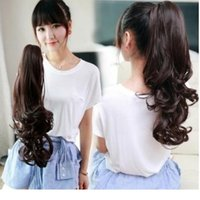 Wholesale multi color hair extension resale online - Clip On Ponytail Long Wavy Wrap Around Clip In Ponytail Hair Extension For Women Multi Color Curly Clip Claw On Hair Tail