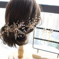 ornamentos frisados venda por atacado-nova cocar de casamento da noiva doce frisado flores enfeites de cabelo Mori belos brincos conjunto de casamento cabelo acessórios
