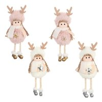 Wholesale christmas angels gifts resale online - Hanging Christmas Tree Pendants Angel Plush Doll Xmas Home Table Display Window Decoration New Year Gifts Party Ornaments JK1910