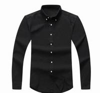 camisas de vestir oxford para hombre al por mayor-superior 2018 hombre del diseñador de manga larga ocasional de la camisa de los hombres Sólido S EE.UU. Marca RL camisas de polos de moda Oxford camisas de vestir sociales Pequeño caballo Camisas