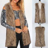 chaleco de visón mujer al por mayor-Mujeres cálida chaqueta de abrigo engrosamiento de piel sintética Fox visón Parka Outwear Cardigan chaleco chaleco antipiel de mujer