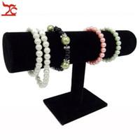 ingrosso porta bracciali-Pratico bracciale organizer in pelle gioielli stand supporto di immagazzinaggio del braccialetto orologio T-Bar cremagliera gioielli espositore titolare Velluto nero bianco PU