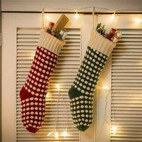 ingrosso calzini di lana rossa-46 centimetri di lana a maglia regalo ciondolo calzino albero di natale decorazioni caramelle borsa grande calza bianco verde rosso calzini 12mxa Ww
