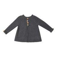 suéter gris niñas al por mayor-New Fashion Girls Sweater Toddler Kids Baby Girls Winter Autumn Grey Outfit Ropa Botón Botones Tops Suéter