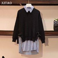 mais tamanho arco suéter venda por atacado-XITAO Lazer Patchwork Fino Tarja Camisola Arco Solto Plus Size Top Mulheres 2019 Outono Novo Estilo Coreano Elegante Tops GCC1259