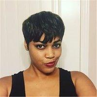 satılık brazilian peruklar toptan satış-Sıcak satış Tam makine yapılan Insan yok dantel Peruk Kısa Tutkalsız Bob Brezilyalı saç Peruk Siyah Kadınlar Için Kısa Dantel Ön Peruk