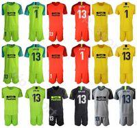 reklam gömlek toptan satış-2019 2020 Kaleci Futbol 13 Jan Oblak Forması Set Erkekler Kaleci GK 1 Antonio Adan 1 MOYA Futbol Gömlek Kitleri Üniforma Özel Ad