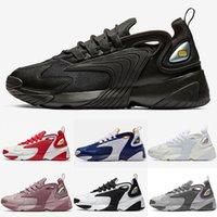 синий мужской стиль обуви оптовых-2019 Мужская Zoom 2K Стиль жизни Кроссовки Белый Черный Синий ZM 2000 стиль 90-х Тренер Дизайнер Уличные кроссовки M2K Удобные