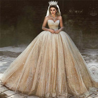 Wholesale ball gown wedding dresses for sale - Luxury Arabic Gold Wedding Dresses Sequins Princess Ball Gown Royal Wedding Dress Sweetheart Beads Sparkly Princess Bridal Gowns
