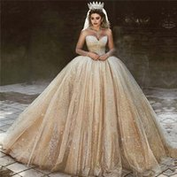 Wholesale princesses wedding dresses resale online - Luxury Arabic Gold Wedding Dresses Sequins Princess Ball Gown Royal Wedding Dress Sweetheart Beads Sparkly Princess Bridal Gowns